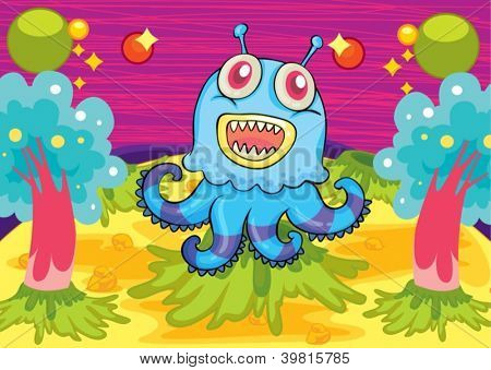 illustration of a scary monster in a beautiful background