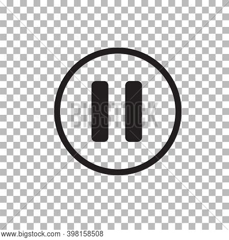 Pause Button Icon On Transparent Background. Pause Button Sign. Flat Style.