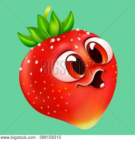 Funny Cartoon Emotional Strawberry With Big Eyes. Red Berry In Water Drops On Mint Color Background.
