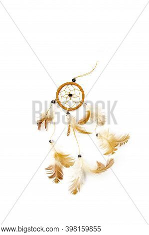 Dream Catcher Symbol Isolated On White Background, Boho Feathers Decoration, Ethnic Amulet, Native D