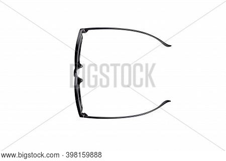 Glasses In Black Plastic Frame Isolated On White Background With Clipping Path. Top View.
