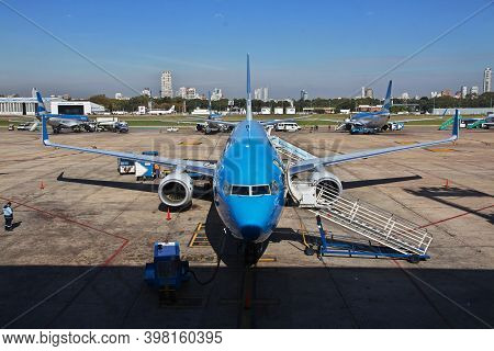 Buenos Aires, Argentina - 04 May 2016: The Plane In The Airport Of Buenos Aires, Argentina