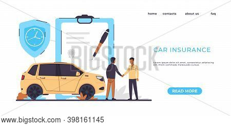 Car Insurance Landing Page. Risks Protection. Website Interface Colorful Design With Buttons. Paymen