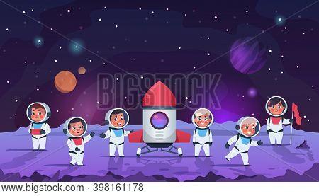 Galaxy Kids. Cartoon Children In Open Cosmos. Little Astronauts Wear Space Suits With Helmets. Adven