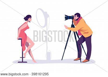 Professional Photographers Taking Pictures. Cartoon Man Shooting Photograph, Woman Posing. Model Wor