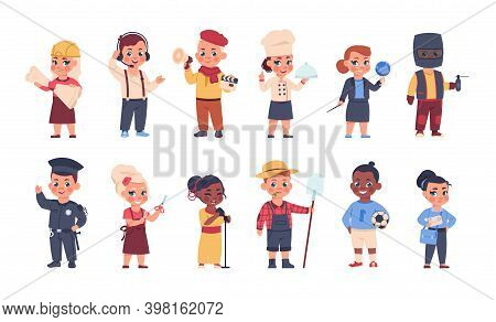 Kids In Costumes. Cartoon Happy Children Playing Adults In Suits Of Different Professions. Isolated