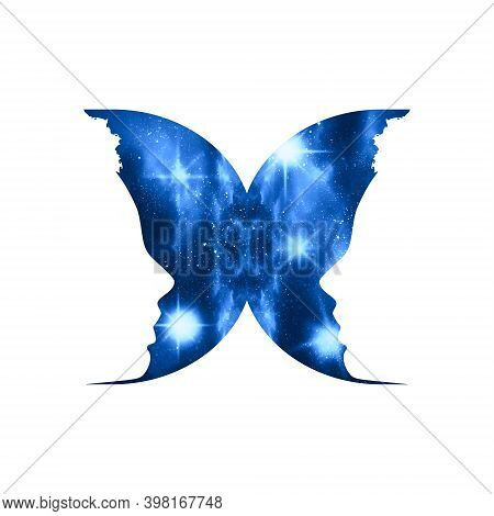 A Butterfly Or Two Face Profile View. Optical Illusion. Human Head Make Silhouette Of Insect. Univer