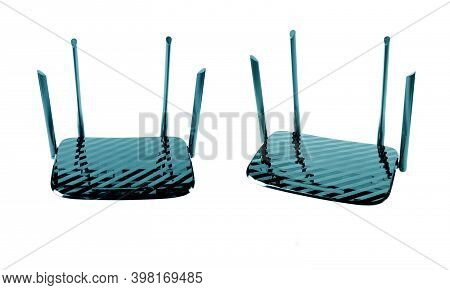 Two Wireless Wi-fi Router Isolated On White Background With Clipping Path. Wifi Technology. Black Wi