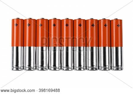 Red Battery. Alkaline Battery Isolated On White Background With Clipping Path. New Alkaline Aa Batte