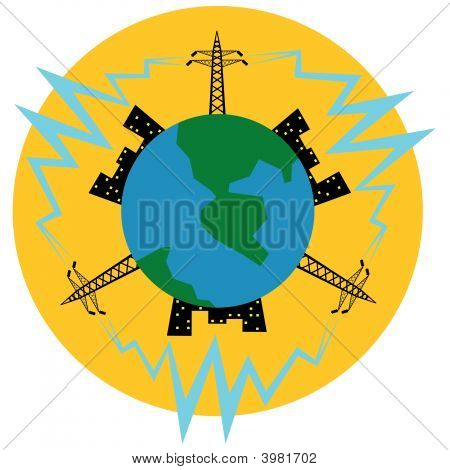 Electric Main And Electricity For Electric Light Of Planet (Earth).