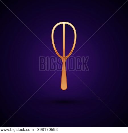 Gold Kitchen Whisk Icon Isolated On Black Background. Cooking Utensil, Egg Beater. Cutlery Sign. Foo