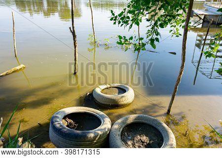 Improvised Dock, Place For Docking Fishing Boats On Shore.