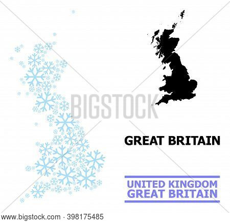 Vector Composition Map Of Great Britain Constructed For New Year, Christmas Celebration, And Winter.
