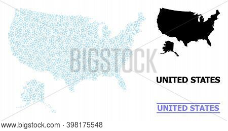 Vector Mosaic Map Of Usa And Alaska Constructed For New Year, Christmas Celebration, And Winter. Mos