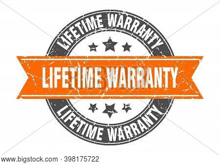 Lifetime Warranty Round Stamp With Orange Ribbon. Lifetime Warranty