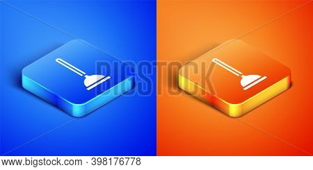 Isometric Rubber Plunger With Wooden Handle For Pipe Cleaning Icon Isolated On Blue And Orange Backg