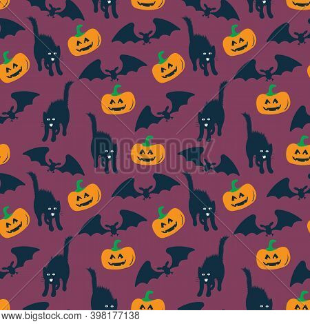 Halloween Pattern, Seamless Pattern With Pumpkins, Bats And Cats On Dark Blue, Halloween Background