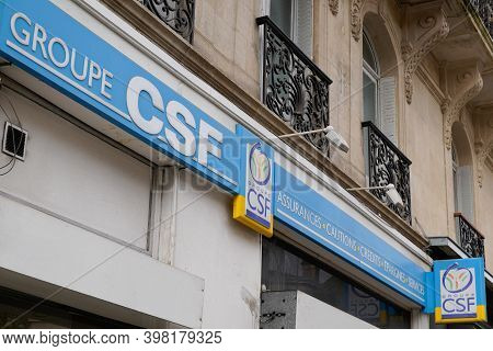 Bordeaux , Aquitaine  France - 12 01 2020 : Csf Group Logo Office And Text Sign French Bank And Insu