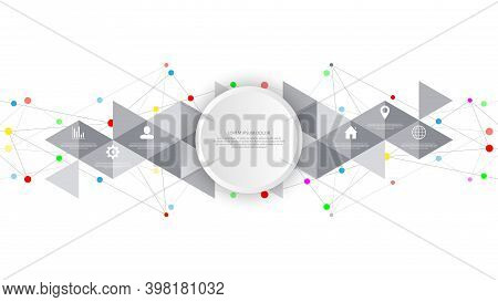 Information Technology With Infographic Elements And Flat Icons. Abstract Background With Connecting