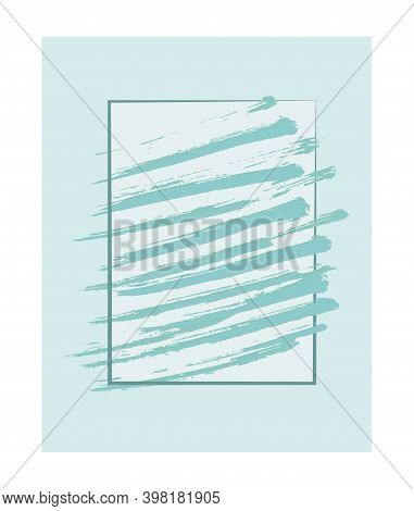 Emerald Horizontal Stiff Brush Strokes In A Rectangular Frame On A Light Emerald Background