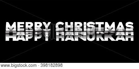 Merry Christmas, Happy Hanukkah. New Years Eve. Vector Illustration Of Paper Cut In Black And White,
