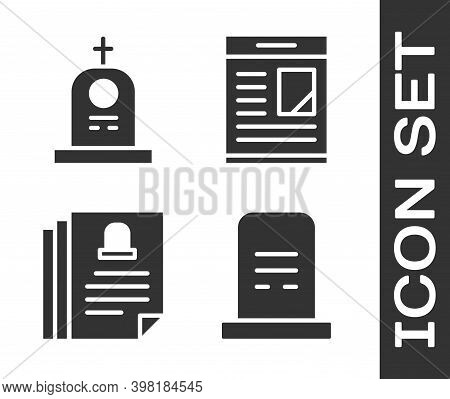 Set Grave With Tombstone, Grave With Tombstone, Death Certificate And Obituaries Icon. Vector