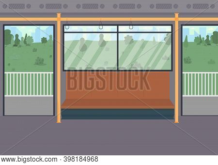 Empty Public Train Flat Color Vector Illustration. Inside Commuter. Vehicle With Chairs For Passenge