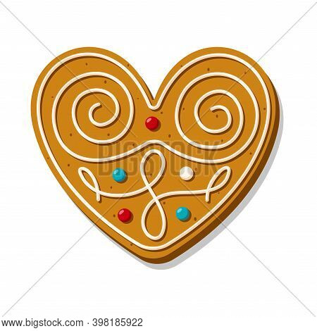 Christmas Gingerbread Heart Is Ornately Decorated With Glaze. Festive Cookies In The Shape Of A Hear