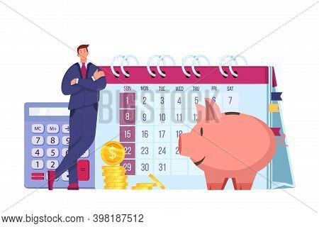 Personal Budget Planning Financial Money Flat Illustration With Auditor, Piggy Bank, Calendar, Dolla