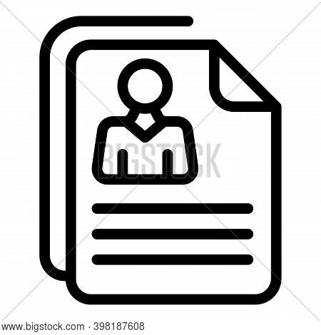Applicant Cv Icon. Outline Applicant Cv Vector Icon For Web Design Isolated On White Background