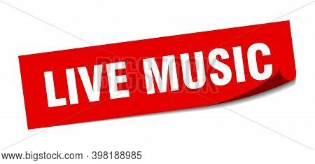 Live Music Sticker. Square Isolated Label Sign. Peeler