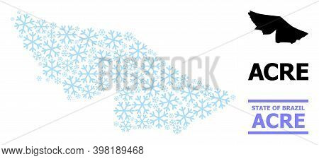 Vector Mosaic Map Of Acre State Created For New Year, Christmas Celebration, And Winter. Mosaic Map