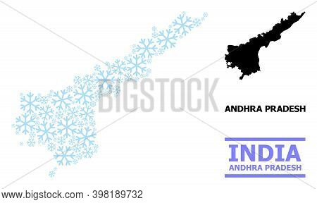 Vector Composition Map Of Andhra Pradesh State Constructed For New Year, Christmas Celebration, And