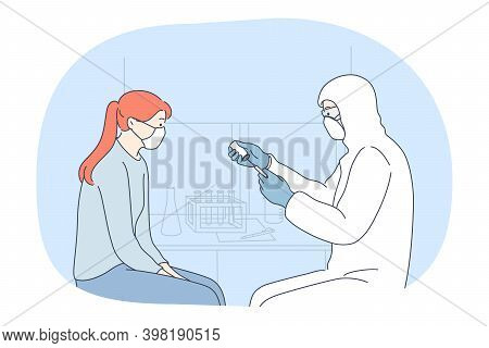 Vaccination, Coronavirus Infection Epidemic, Protective Facial Mask Concept. Doctor In Protective Co