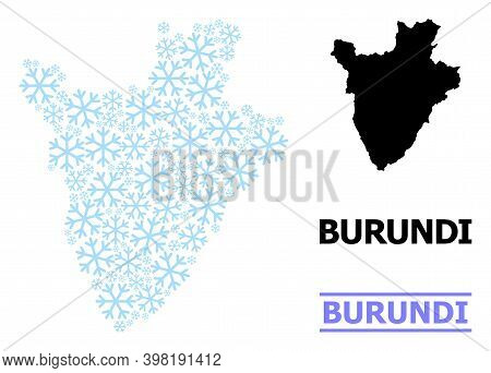 Vector Mosaic Map Of Burundi Created For New Year, Christmas Celebration, And Winter. Mosaic Map Of