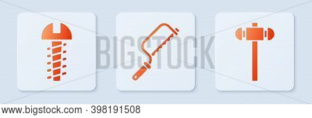 Set Hacksaw, Metallic Screw And Sledgehammer. White Square Button. Vector