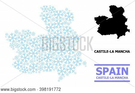 Vector Mosaic Map Of Castile-la Mancha Province Combined For New Year, Christmas Celebration, And Wi