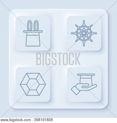 Set Line Magician Hat And Rabbit Ears, Spider Web, Magic Stone And Magician Hat In Hand. White Squar