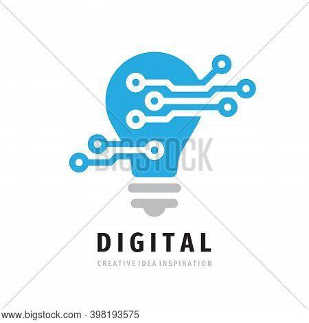 Digital Lightbulb Logo Design. Concept Icon Vector Illustration In Flat Style. Creative Idea Inspira