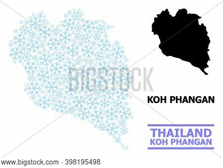 Vector Mosaic Map Of Koh Phangan Combined For New Year, Christmas Celebration, And Winter. Mosaic Ma