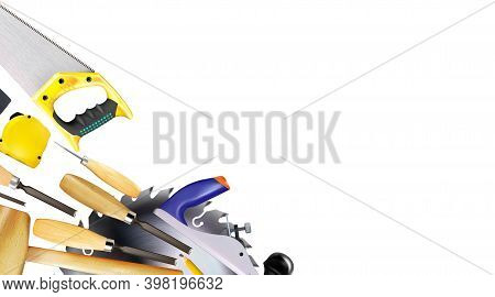 Composition 3d Of Set Tools Of Joinery, Carpentry Craft Or Construction Isolated On White Background