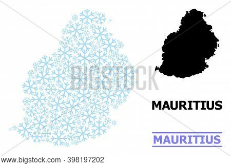 Vector Mosaic Map Of Mauritius Island Organized For New Year, Christmas Celebration, And Winter. Mos