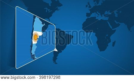 Location Of Argentina On The World Map With Enlarged Map Of Argentina With Flag. Geographical Vector