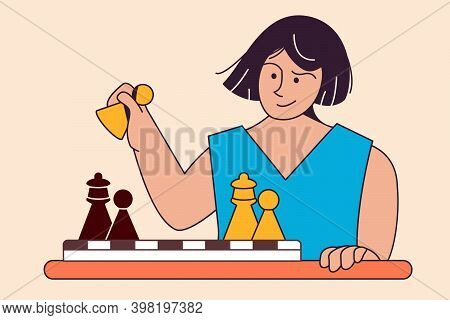Smart Woman Chess Player Holds Pawn In Hand Exposing Queen. Royal Gambit. Chess Game At Table. Vecto