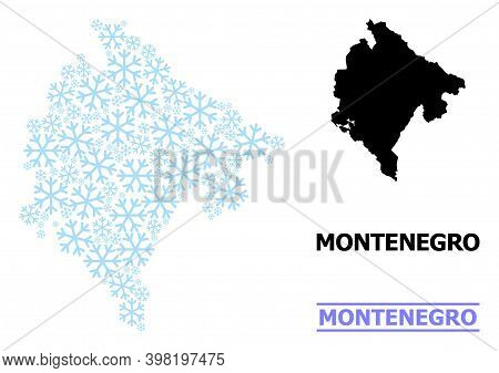 Vector Collage Map Of Montenegro Constructed For New Year, Christmas Celebration, And Winter. Mosaic