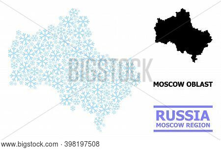 Vector Collage Map Of Moscow Region Created For New Year, Christmas Celebration, And Winter. Mosaic