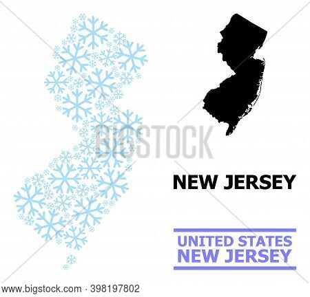 Vector Mosaic Map Of New Jersey State Combined For New Year, Christmas Celebration, And Winter. Mosa