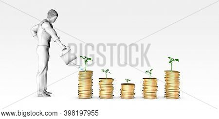Investment Portfolio with Stocks Bonds and Commodities 3d Render