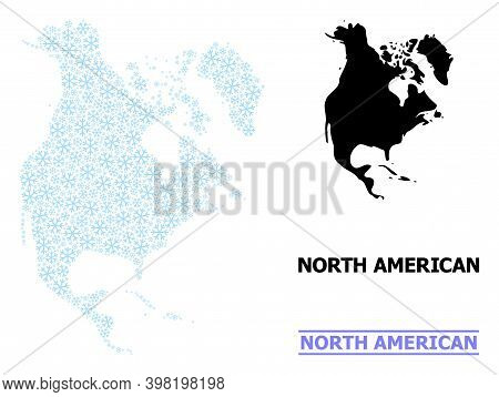 Vector Mosaic Map Of North America Designed For New Year, Christmas Celebration, And Winter. Mosaic