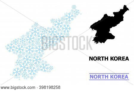 Vector Mosaic Map Of North Korea Combined For New Year, Christmas Celebration, And Winter. Mosaic Ma